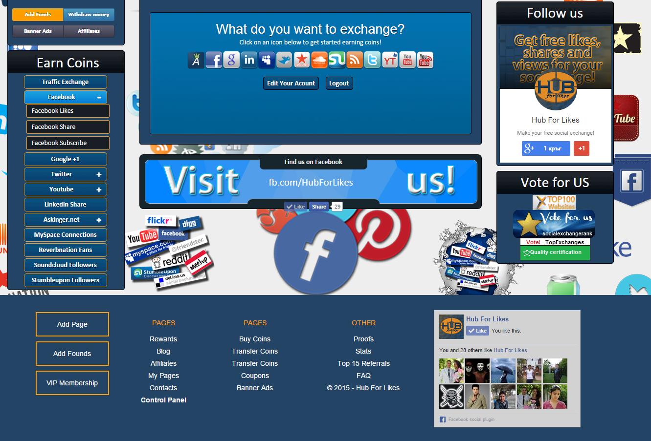 Hub for Likes - footer