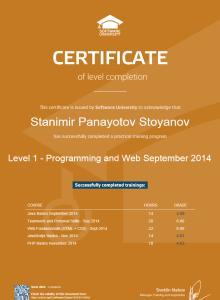 сертификат по Programming and Web