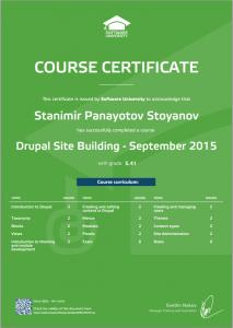 сертификат по Drupal Site Building